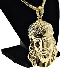 "Jesus Head Chain Iced-Out Huge Hip Hop Pendant Gold Finish 36"" Franco Necklace"