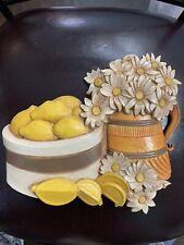 Vtg 1981 Homco Syroco Daisy & Lemons Fruit Kitchen Wall Plaque 7610