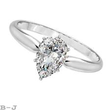Engagement Ring Solitaire 14K solid White Gold 2.00 Ct Pear Shape Diamond Cut