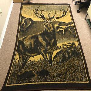 """Vintage 53"""" x 88"""" Deer Buck Throw Blanket by San Marcos"""