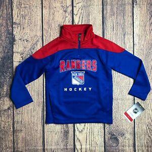 NHL Kids Large 7 New York Rangers 1/4 Quarter Zip Pullover Track Jacket NEW