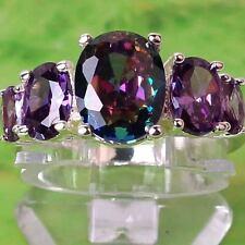 Fashion Oval Cut Amethyst & Rainbow Topaz Gemstone Silver Women Ring SIze 10