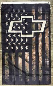Chevy USA Camo Banner 3x5 Ft Flag Garage Shop Camaro Corvette Silverado Colorado