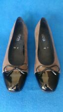 *BNWOT* ARA Womens Shoes Ballerina Flats SIZE 7 Taupe Suede/Black Patent RRP$199