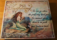 Mermaid & Conch Shell - Be Inspiring Ocean Seaside Beach Home Canvas Decor Sign