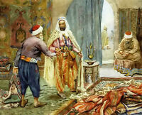 Oil painting alberto rosati - the carpet seller Arab people in market on canvas