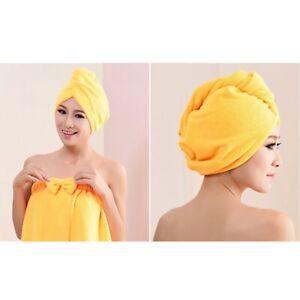 Rapid Fast Drying Hair Absorbent Towel Turban Wrap Soft Drying Bath Spa Cap Hat