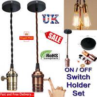 Lamp Switch Holder Ceiling Rose Fabric Flex Hanging Pendant Fitting Lighting Kit