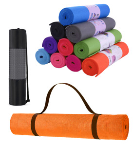 Yoga Mat with Carrier Bag Gym Exercise Thick Fitness Pilates Mats Non Slip UK