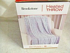 Brookstone Luxurious Ultra Soft Electric Heated Throw Built-In Remote Plaid