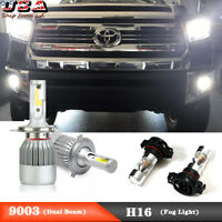 4x 6000K Led Dual Beam Headlight Fog Light Bulbs For Toyota Tundra 2014-2019