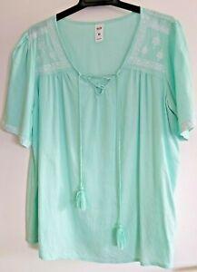 Ladies Pretty Mint Green Colour Boho Style Top sz 14 by NOW
