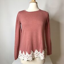 Rewind Top Size M Lace Hem Burnout Long Sleeve Polyester Rayon Blend