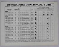 Oldsmobile 1980 Engine Supplememt Sheet Sales Brochure / Literature