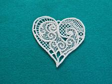 Large,White Guipure Lace,Applique,Trimmings,Wedding- Heart Motif - 9,5cm x 9cm
