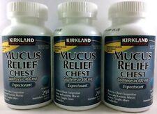 3pk Kirkland Mucus Relief Chest Guaifenesin 400mg Expectorant 200ct (600 total)