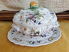 Ancienne grande soupière en faïence polychrome décor floral Meillonas-fait main