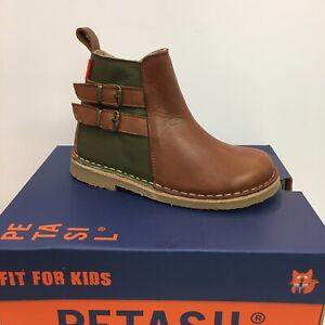 Petasil Eva Classic Girls Chelsea Boots in Cognac with Olive ( New Season)