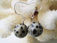 Schöne Ohrringe aus Dalmatinerjaspis 925er Silber Ohrhaken