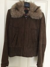 Mango Leather suede jacket brown size XL