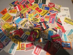 """Approx  130+ mixed  matchbox labels""""SHOPS and STORES. 50s 60s 70s, (lot 4)"""