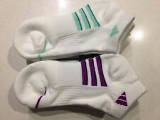 ADIDAS Womens Sports Socks 2 Pairs Ankle Low Cut White Shoe Size 5-10 NEW