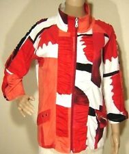 BEREK womens L Patchwork Red Orange Stretch Cotton Tank Top + Zip Jacket Twinset