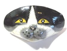 CAT BLACK WHITE WOOD FINDING SLIDE PAINTED SCARF BARRETTE PONYTAIL HOLDER
