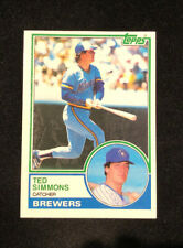TED SIMMONS 1983 TOPPS AUTOGRAPHED SIGNED AUTO BASEBALL CARD 450 BREWERS