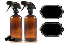 2-Pack - Amber Glass Spray Bottle Plus Labels - Large 16 oz 480 ml Refillable...