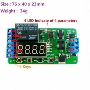 Dual 12V digital tube DPDT double throw multi-function time delay relay switch