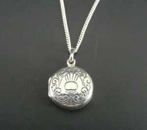 REO Round Locket With Design Dainty Sterling Silver 925 Pendant Necklace