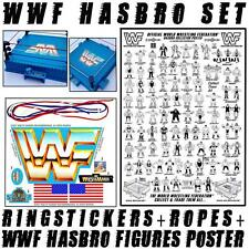 # WWF SET   HASBRO FIGURES COLLECTORS POSTER & RING STICKERS + ROPES WRESTLING #