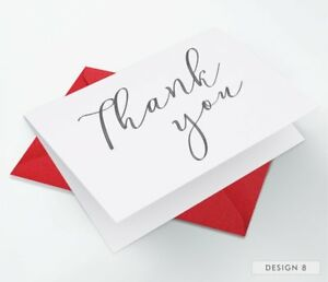 10 x Folded Christmas Thank You Cards ~ Notes Pack + Envelopes
