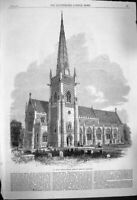 Old Antique Print 1864 St. Mary Tower Church Ipswich Architecture England 19th