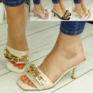 Ladies Sandals Mules High Heel Womens Shoes Party Chain Summer Slip On Open Toe