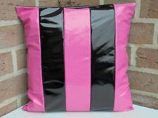 1 Kissenbezug Kissenhülle Lack Glänzend Schwarz Pink Gestreift Streifen 40x40 cm