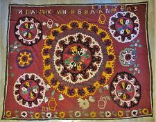 """Large Antique RED SUZANI SAMPLER Textile w/ Cyrillic Letters   74"""" x 58"""""""