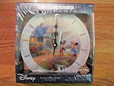 Thomas Kincade Disney Mickey & Minnie SWEETHEART BRIDGE~Glass Wall Clock~NEW