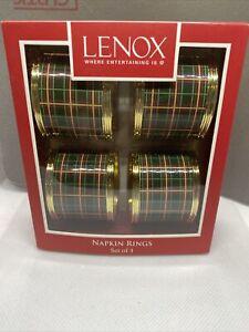 Lenox Set of 4 Metal Napkin Rings Christmas Plaids Nouveau Plaids New