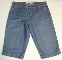 Womens GAP Stretch Cropped Capri Wide Leg Denim Jeans Pants Sz 12 Blue 15 Inseam