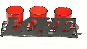 Bella Villa 4 Piece RED Candle Holder Set Love Black Matte Finish NIB