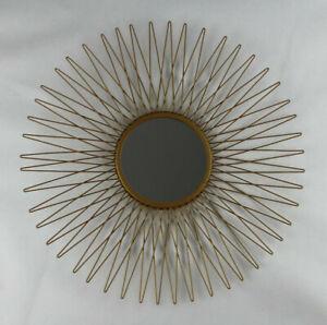 Spiegel Sonne Sonnenschein Sonnenkranz Goldfarben Wandspiegel Metall Rund 49cm