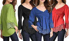 Boho Long Sleeve Laced Top, V neckline, Button front. Lightweight.Summer perfect