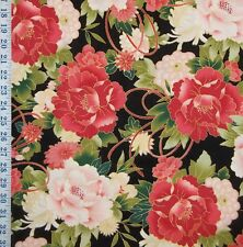 "24"" RED ROOSTER SERENITY LARGE SCALE PEONY MUMS BLK COTTON BOLT END CRAFT FABRIC"