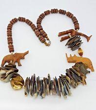 African Safari Elephant Giraffe Rhinoceros Wooden Bead Necklace Carved