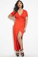 Forever 21 Tomato Plus Size Wrap-Front Maxi Dress 2X