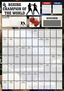 BOXING FUNDRAISING SCRATCH CARD - 70 BOXERS - FREE UK POSTAGE - A4