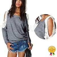 Fashion Sexy Womens Ladies Lace Casual Loose Long Sleeve Tops Shirt Blouse Tee