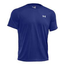 Magliette da uomo a mezza manica blu in poliestere